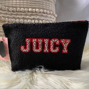 Juicy Couture Black Sherpa Makeup Bag
